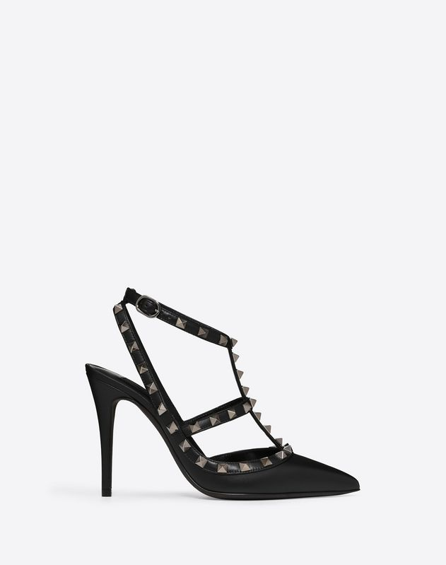 Rockstud Noir ankle strap pump 100 mm