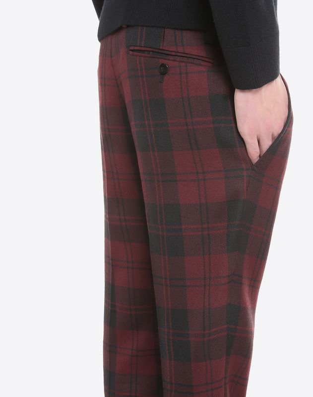 Overdyed check trousers