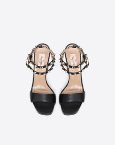 Grain calfskin leather Rockstud sandal 100mm