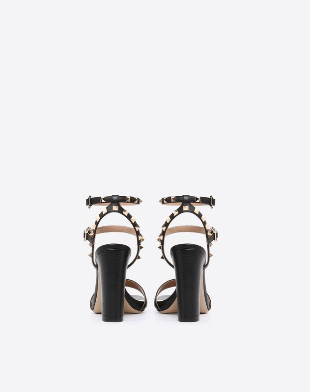Grain calfskin leather Rockstud sandal 100mm