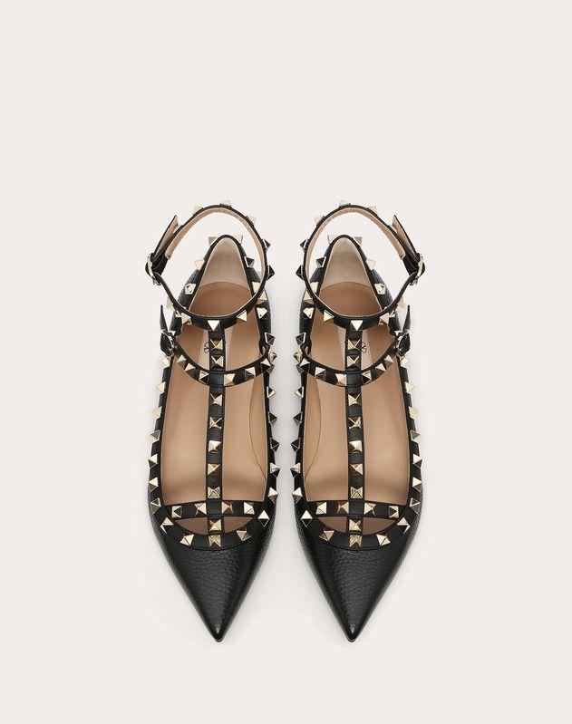 Rockstud Grainy Calfskin Ankle Strap Ballet Flat