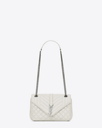 SAINT LAURENT Monogram envelope Bag D soft enveloppe medium en cuir mix matelassé blanc grisé et noir f