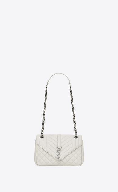 SAINT LAURENT Monogram envelope Bag D classic medium soft envelope in dove white and black mixed matelassé leather a_V4