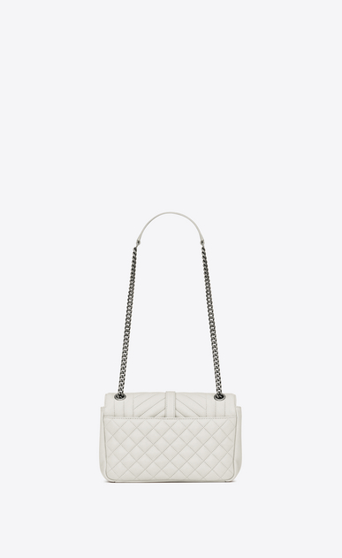 SAINT LAURENT Monogram envelope Bag D classic medium soft envelope in dove white and black mixed matelassé leather b_V4