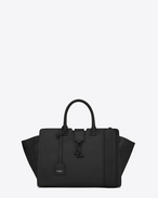 SAINT LAURENT MONOGRAMME TOTE D small downtown cabas bag in black leather and crocodile embossed leather f