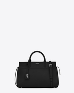 SAINT LAURENT RIVE GAUCHE D small cabas rive gauche bag in black grained leather f