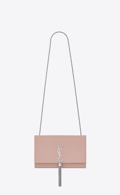SAINT LAURENT MONOGRAM KATE WITH TASSEL Woman medium kate tassel chain bag in Pale Blush Leather a_V4