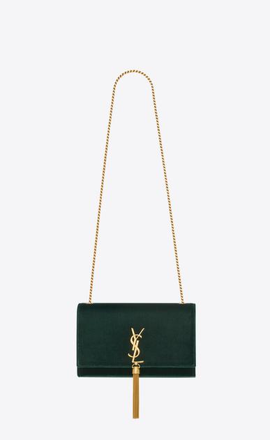 SAINT LAURENT MONOGRAM KATE WITH TASSEL Femme sac à chaîne et pompon médium KATE en cuir black tulip brillant embossé façon crocodile V4