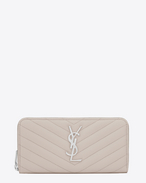 SAINT LAURENT Monogram Matelassé D monogram Zip Around Wallet in Icy White Grain de Poudre Textured Matelassé Leather f