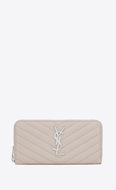 SAINT LAURENT Monogram Matelassé Woman zip around wallet in icy white textured matelassé leather a_V4