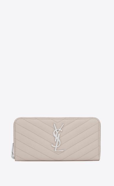 SAINT LAURENT Monogram Matelassé D monogram Zip Around Wallet in Icy White Grain de Poudre Textured Matelassé Leather v4