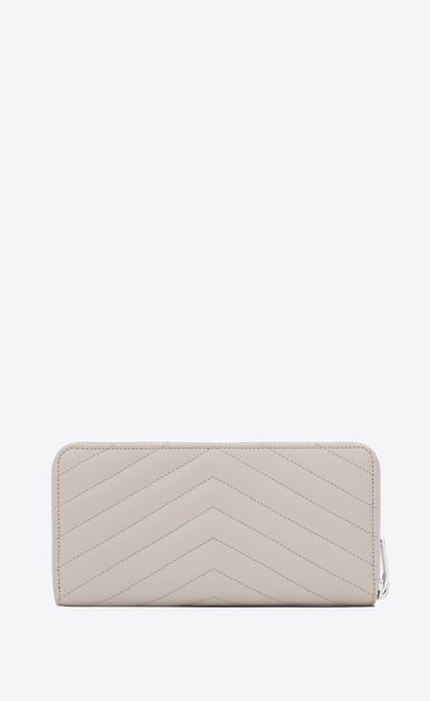 SAINT LAURENT Monogram Matelassé D monogram Zip Around Wallet in Icy White Grain de Poudre Textured Matelassé Leather b_V4