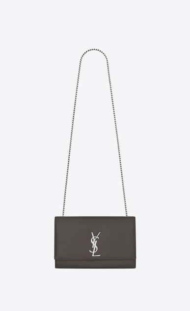 SAINT LAURENT MONOGRAM KATE Woman medium kate chain bag in Grey Grain de Poudre Textured Leather a_V4