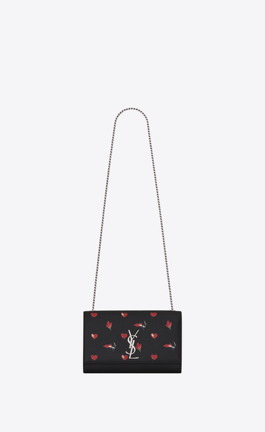 SAINT LAURENT MONOGRAM KATE D Classic Medium KATE Satchel in Black, Red and White Heart and Bolts Printed Leather a_V4