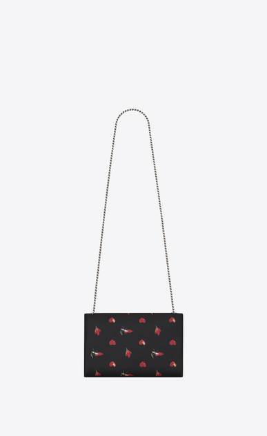 SAINT LAURENT MONOGRAM KATE D Classic Medium KATE Satchel in Black, Red and White Heart and Bolts Printed Leather b_V4