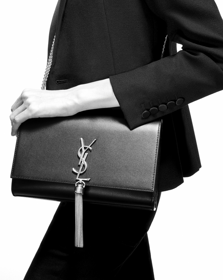 Sast For Sale Outlet Classic Saint Laurent crocodile embossed medium Kate tassel satchel rnsKNOuw