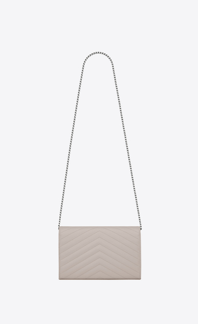 SAINT LAURENT Mini bags Matelassé Woman chain wallet in icy white textured matelassé leather b_V4
