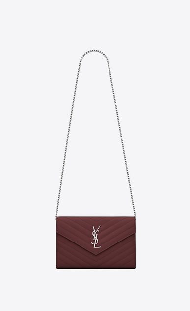 SAINT LAURENT Mini bags Matelassé D monogram Chain Wallet in Dark Red Grain de Poudre Textured Matelassé Leather a_V4