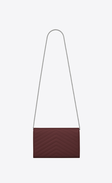 SAINT LAURENT Matelassé chain wallet D monogram Chain Wallet in Dark Red Grain de Poudre Textured Matelassé Leather b_V4