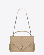 SAINT LAURENT Monogram College D classic Large COLLÈGE Bag in Dark Beige Matelassé Leather f