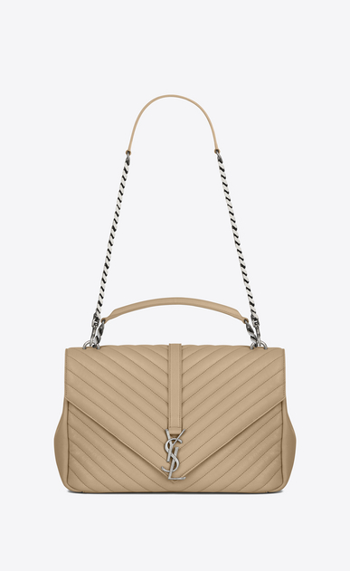 SAINT LAURENT Monogram College D classic Large COLLÈGE Bag in Dark Beige Matelassé Leather a_V4