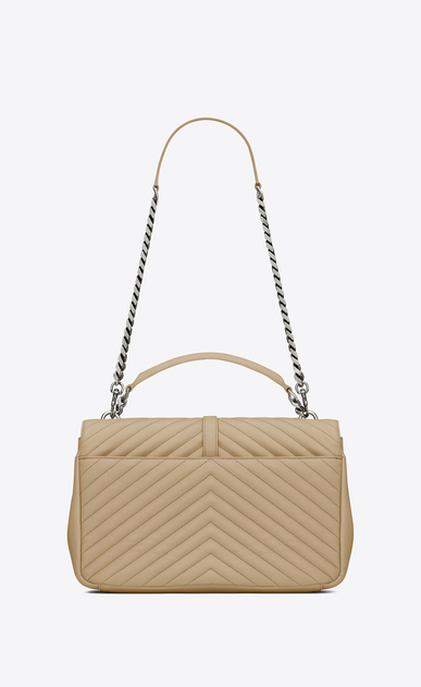 SAINT LAURENT Monogram College D classic Large COLLÈGE Bag in Dark Beige Matelassé Leather b_V4