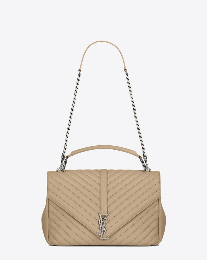 Saint Laurent Classic Large Coll 200 Ge Bag In Dark Beige
