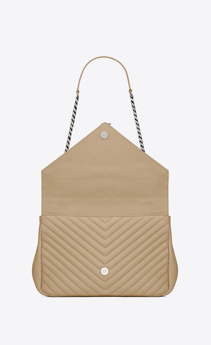 Saint Laurent Large Coll 232 Ge Bag In Dark Beige Matelass 233