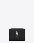 monogram Compact Zip Around Wallet in Black Grain de Poudre Textured Matelassé Leather