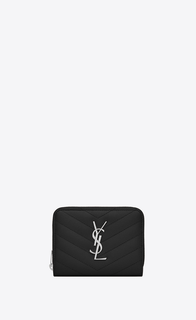 SAINT LAURENT Monogram Matelassé Woman monogram Compact Zip Around Wallet in Black Grain de Poudre Textured Matelassé Leather a_V4