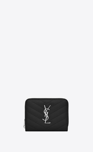 SAINT LAURENT Monogram Matelassé D monogram Compact Zip Around Wallet in Black Grain de Poudre Textured Matelassé Leather v4