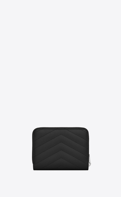 SAINT LAURENT Monogram Matelassé D monogram Compact Zip Around Wallet in Black Grain de Poudre Textured Matelassé Leather b_V4