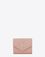 SAINT LAURENT Monogram Matelassé D monogram Compact Tri-fold Wallet in Pale Blush Grain de Poudre Textured Matelassé Leather f