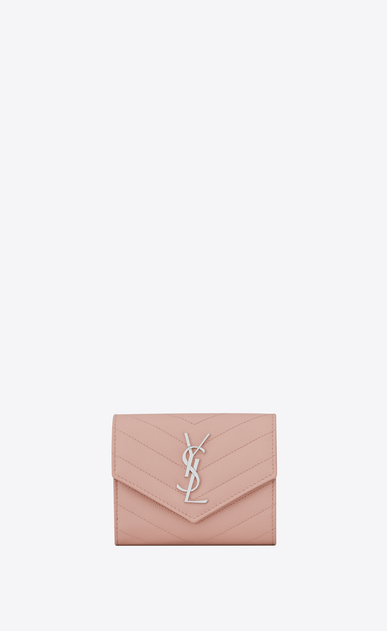 SAINT LAURENT Monogram Matelassé Woman monogram Compact Tri-fold Wallet in Pale Blush Grain de Poudre Textured Matelassé Leather a_V4