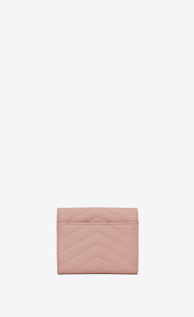 SAINT LAURENT Monogram Matelassé Woman monogram Compact Tri-fold Wallet in Pale Blush Grain de Poudre Textured Matelassé Leather b_V4