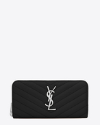 SAINT LAURENT Monogram Matelassé D MONOGRAM SAINT LAURENT Zip Around Wallet in Black Grain de Poudre Textured Matelassé Leather f