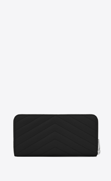 SAINT LAURENT Monogram Matelassé D monogram Zip Around Wallet in Black Grain de Poudre Textured Matelassé Leather b_V4