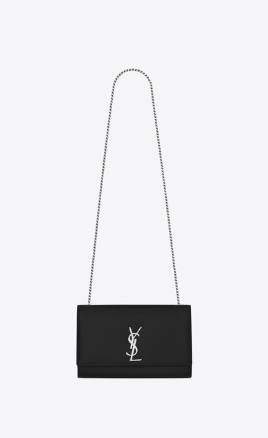 SAINT LAURENT MONOGRAM KATE Woman medium kate chain bag in black textured leather a_V4