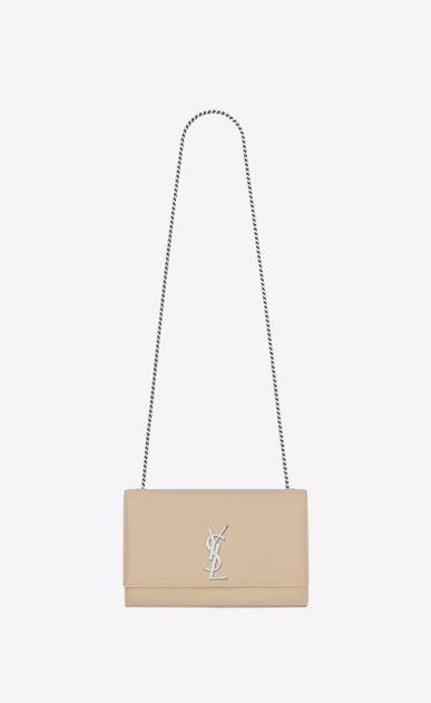 SAINT LAURENT MONOGRAM KATE D satchel medium kate en cuir texturé grain-de-poudre poudre a_V4