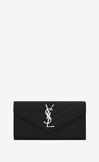 SAINT LAURENT Monogram Matelassé Woman large flap wallet in pink and white textured matelassé leather V4