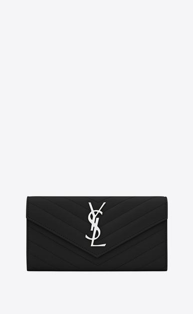 SAINT LAURENT Monogram Matelassé D Portafogli Large monogram con patta in pelle matelassé grain de poudre nero v4