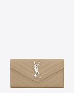 SAINT LAURENT Monogram Matelassé D Large MONOGRAM SAINT LAURENT Flap Wallet in Dark Beige Grain de Poudre Textured Matelassé Leather f