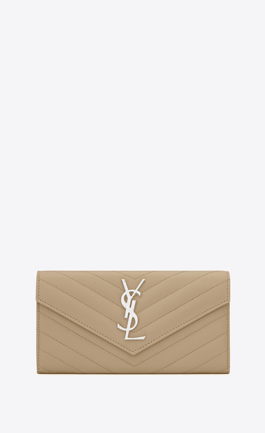SAINT LAURENT Monogram Matelassé Woman Large monogram Flap Wallet in Dark Beige Grain de Poudre Textured Matelassé Leather a_V4