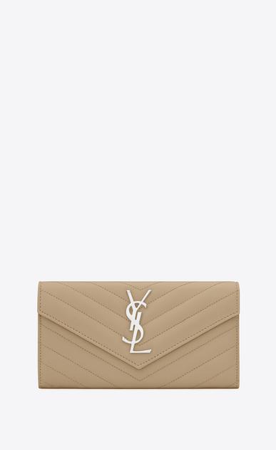 SAINT LAURENT Monogram Matelassé D Large monogram Flap Wallet in Dark Beige Grain de Poudre Textured Matelassé Leather v4