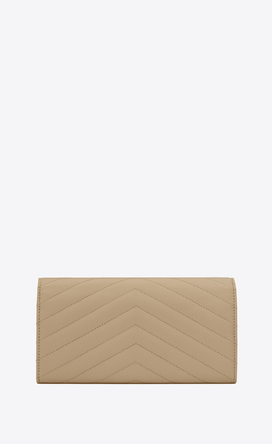 SAINT LAURENT Monogram Matelassé Woman Large monogram Flap Wallet in Dark Beige Grain de Poudre Textured Matelassé Leather b_V4