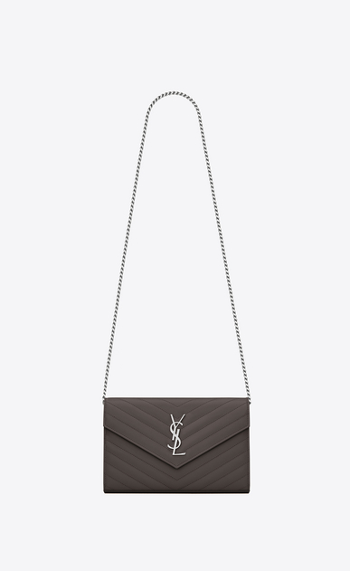 SAINT LAURENT Mini bags Matelassé Woman chain wallet in earth grey textured matelassé leather a_V4