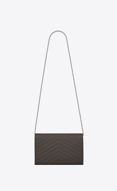 SAINT LAURENT Matelassé chain wallet D monogram Chain Wallet in Earth Grey Grain de Poudre Textured Matelassé Leather b_V4