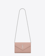 SAINT LAURENT Matelassé chain wallet D monogram Chain Wallet in Pale Blush Grain de Poudre Textured Matelassé Leather f