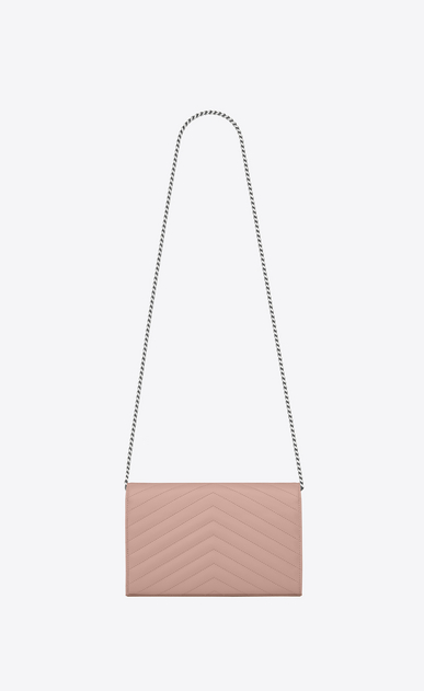 SAINT LAURENT Matelassé chain wallet D monogram Chain Wallet in Pale Blush Grain de Poudre Textured Matelassé Leather b_V4