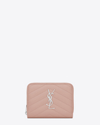 SAINT LAURENT Monogram Matelassé D monogram Compact Zip Around Wallet in Pale Blush Grain de Poudre Textured Matelassé Leather f